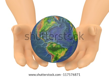 Human Hands holding world globe / earth. Isolated on white 3d concept