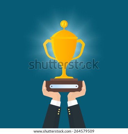 Human hands holds reward. Flat illustration - stock photo