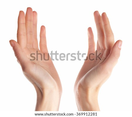 Human hands isolated on white background - stock photo