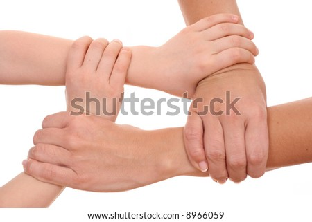 human hands isolated on white - team concept