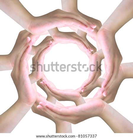 human hands making a circle with copy space - stock photo