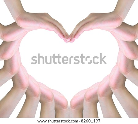 human hands making a symbol of love with copy space
