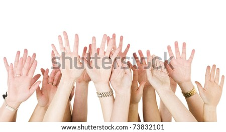 Human Hands Raised isolated on White Background - stock photo