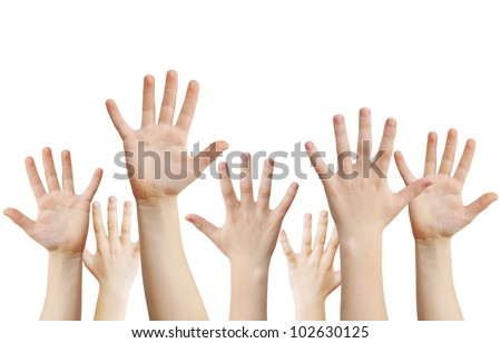 Human hands raised up, isolated on white, clipping path - stock photo
