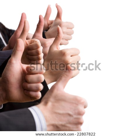 Human hands showing okay sign - stock photo