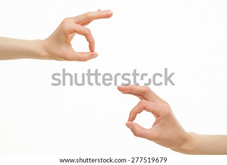 Human hands showing  okay signs on white background