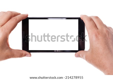human hands taking photo with a mobile phone isolated over a white background - stock photo