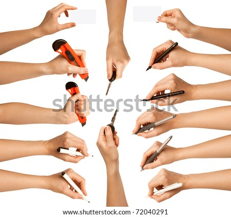 human hands with different tools - stock photo