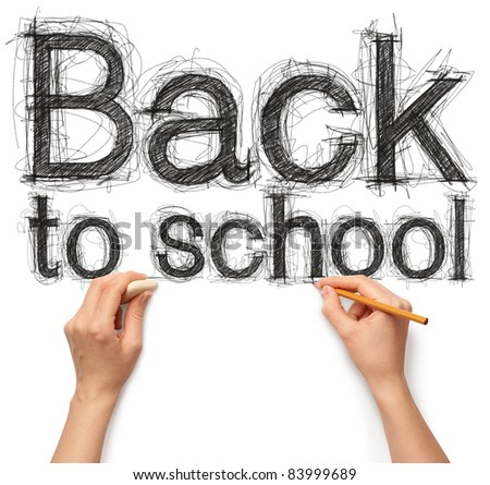 human hands with pencil and erase rubber writing back to school - stock photo