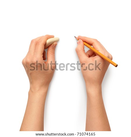 human hands with pencil and erase rubber writting something - stock photo