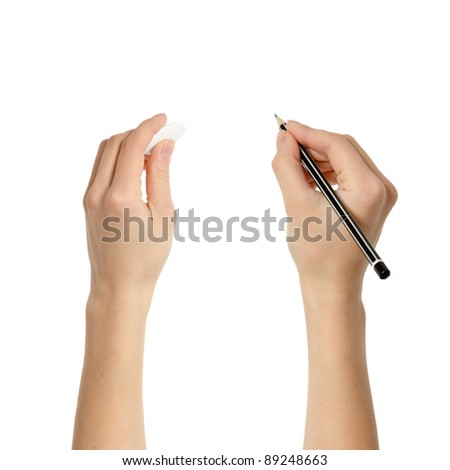 Human hands with pencil and eraser rubber writing something isolated on white background - stock photo