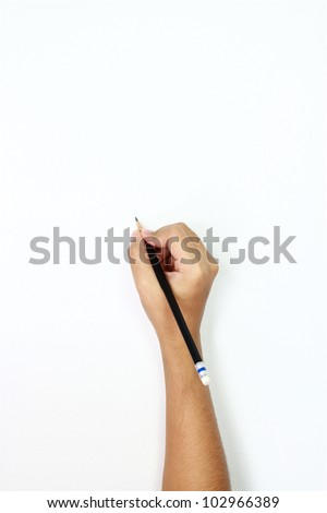 human hands with pencil and writ ting something - stock photo