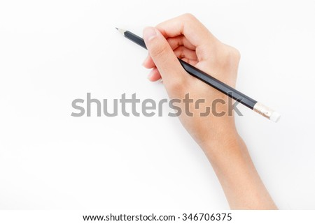 human hands with pencil and writ ting something