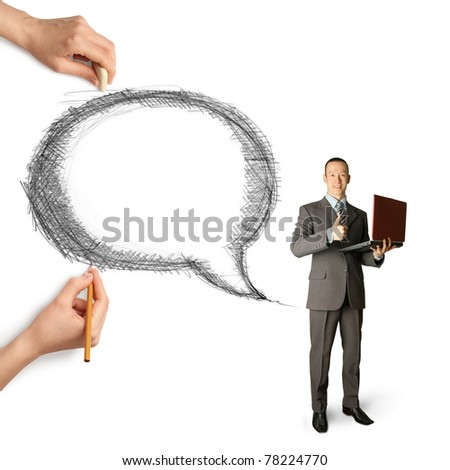 human hands with speech bubble and man - stock photo