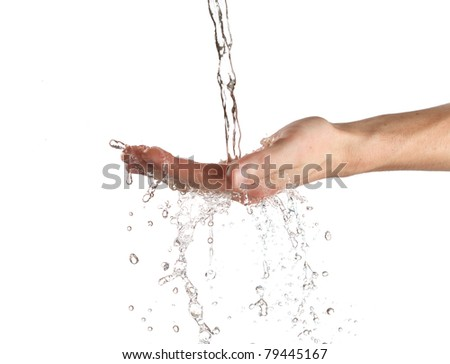 human hands with water splashing on them