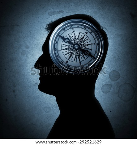 Human head and compass. The concept on the topic of philosophy, psychology, morality, etc.