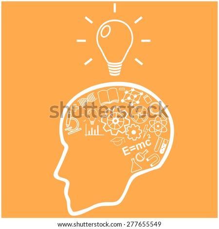 Human head and icons of science. The concept of scientific discoveries. Education and learning process. Illustration in linear style. - stock photo