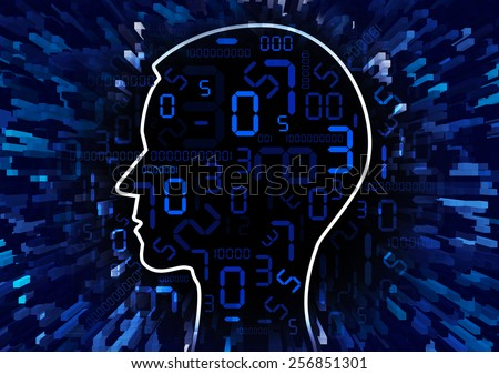 Human Head and stream of digital numbers. Human Head silhouette with digital numbers and binary codes. Concept for mathematics  and information technology. Illustration.  - stock photo