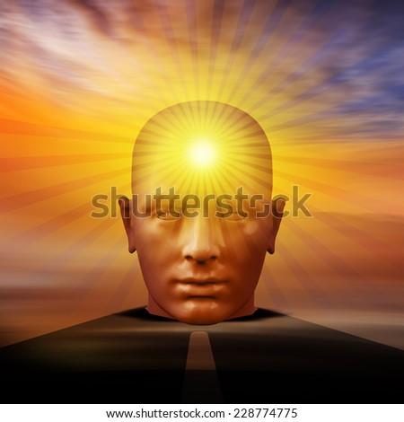 human head and sun background - stock photo