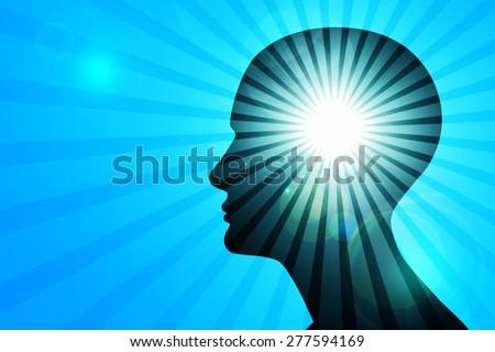 human head, blue sky ,sun,rays and blur background - stock photo