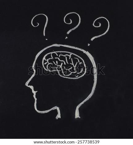 human head,brain and question mark in idea concept on blackboard - stock photo
