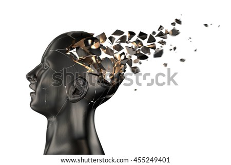 Human Head Breaks into Pieces. 3D illustration - stock photo