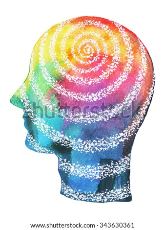 human head, chakra power color colorful abstract thinking, calm, peace symbol, world, universe inside your mind, watercolor painting, design illustration - stock photo