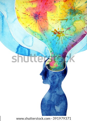 human head, chakra power, inspiration abstract thinking thought, world, universe inside your mind, watercolor painting splash - stock photo