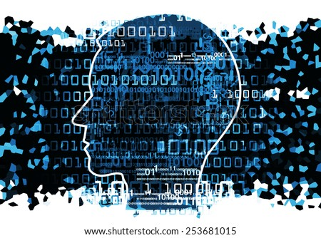 Human Head chaos binary codes Human Head silhouette with binary codes. Concept for information technology.    - stock photo