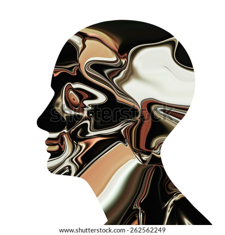 human head colored  and white background
