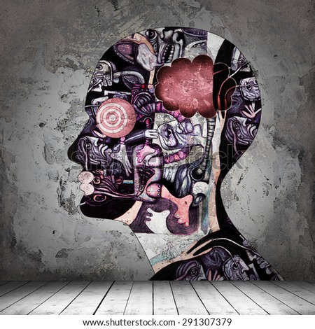 human head,drawings interior room  with copyspace for text and wall background - stock photo