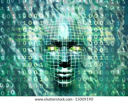 Human head emerging from a water and binary code surface. Digital illustration. - stock photo