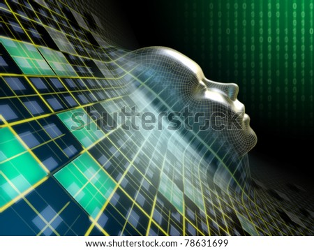 Human head emerging from an abstract plane in cyberspace. Digital illustration.