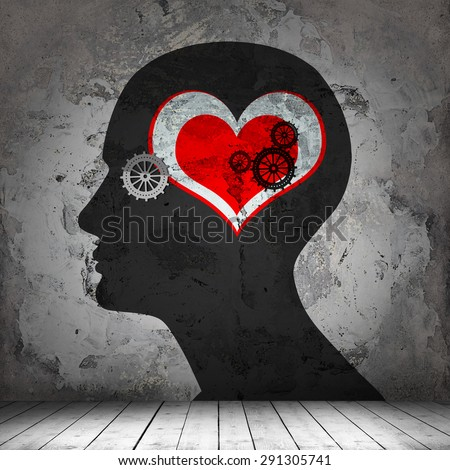 human head,gears,heart interior room  with copyspace for text and wall background - stock photo