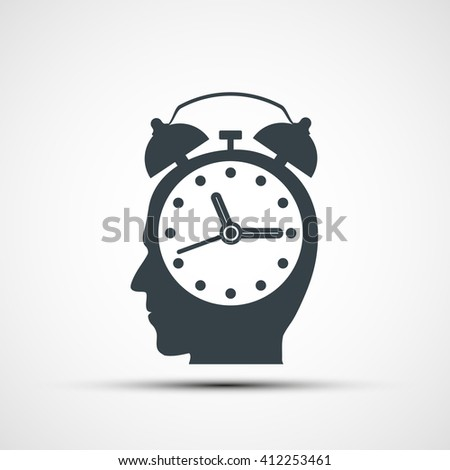 Human head in the form of an alarm clock. Stock illustration. - stock photo