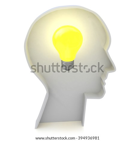 Human head profile with a light bulb - Creative ideas light bulb concept in the design of information related to creative thinking - stock photo