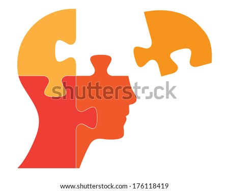 Human head puzzle design business concept, raster version. - stock photo