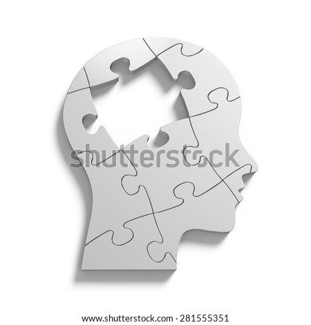 Human head shape puzzle with missing jigsaw piece - stock photo