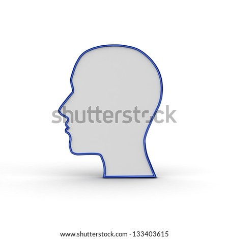 Human head silhouette. 3d illustration.
