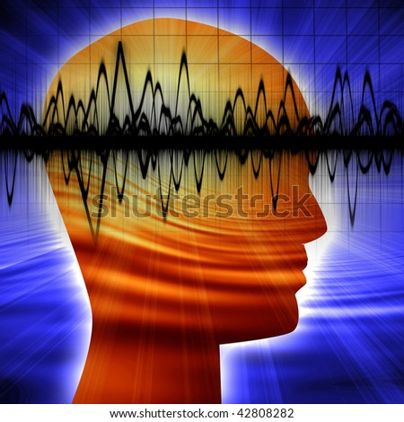 Human head silhouette with focus on the brain - stock photo