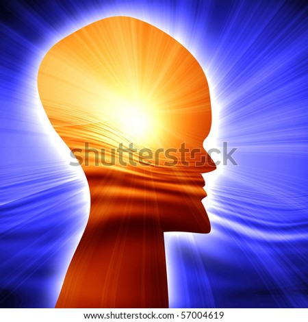 Human head silhouette with focus on the brain