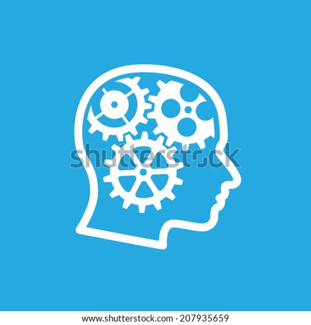 human head silhouette with gears inside, teamwork, creativity, imagination and new ideas concept - stock photo