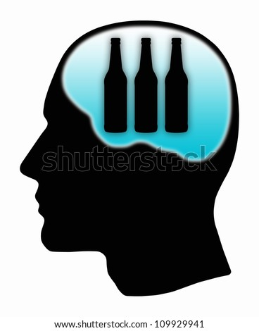 human head silhouette with three bottles - stock photo