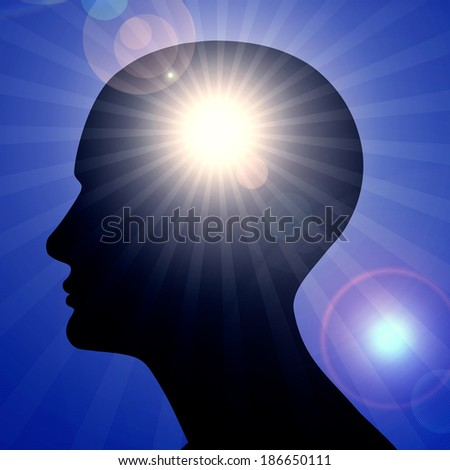 human head sun sky and rays background