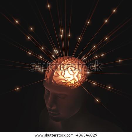 Human head translucent illuminated by pulses of energy entering the brain. - stock photo