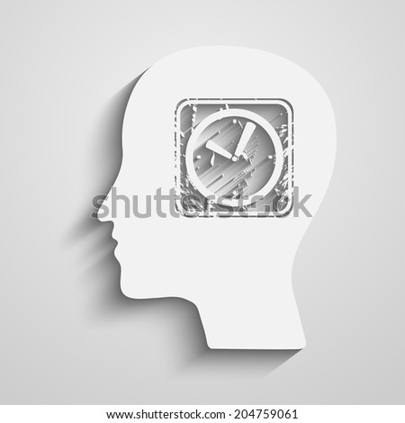 Human Head with a clock icon - stock photo