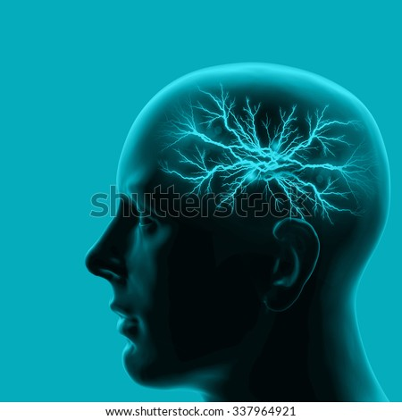 human head with brain and blue background  - stock photo