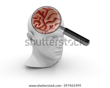 Human Head with Brain and Magnifying Glass on White Background - High Quality 3D Render   - stock photo