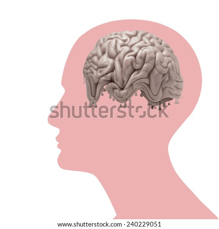 human head with brain and white background - stock photo