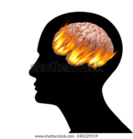 human head with brain,fire and white background - stock photo